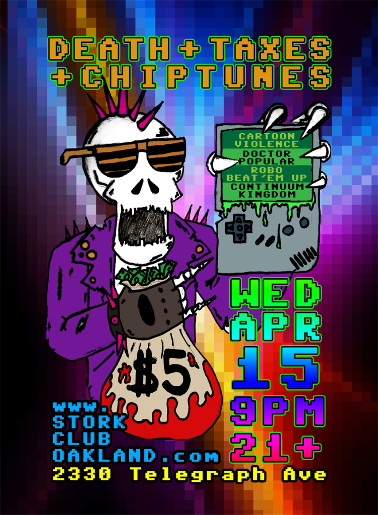 Save $5 from your tax refund to come see live rock punk and pop chiptune music!
